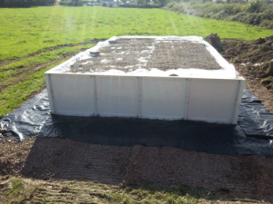 Covering of Sandcel with Geotextile